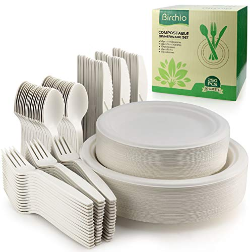 250 Piece Biodegradable Paper Plates Set (EXTRA LONG UTENSILS), Disposable Dinnerware Set, Eco Friendly Compostable Plates & Utensil include Plates, Forks, Knives and Spoons for Party, Camping, Picnic