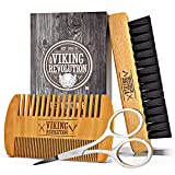 Viking Revolution Beard Comb & Beard Brush Set for Men - Natural Boar Bristle Brush and Dual Action...
