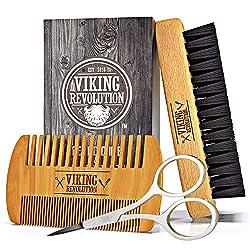 Bartkamm und Bartbürsten Set für Männer- Natürliche Wildschweinborsten Bürste und Kamm aus wirkendem Birnenholz. Das Set enthält einen Kulturbeutel aus Samt.