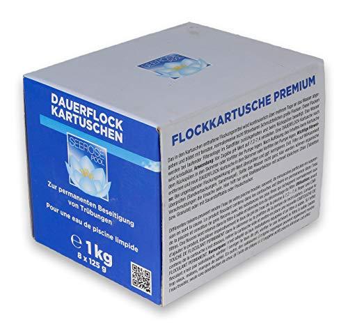 Paradies Pool Flockkartuschen 8x125g = 1 kg für Sandfilteranlagen zur Trübungsbeseitigung Schwebstoffe Skimmer