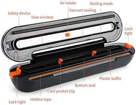 Macchina per sottovuoto Sistema portatile automatico di sigillatura dellaria per la conservazione degli alimenti per frutta secca e umida Home Sealer Confezionatrice sottovuoto automatica black