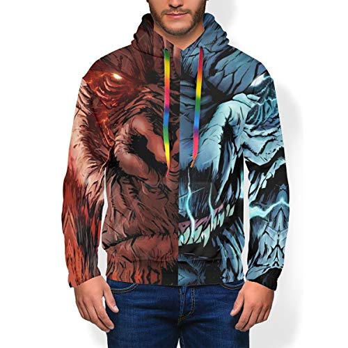 Adults Men's Best 3D Graphic Pullover Hoodies, King Kong Vs Godzilla Monster Casual Soft Plus Fleece College Hooded Sweater Apparel with Kangaroo Pocket