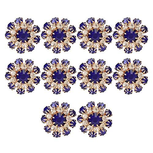 Botón de diamantes de imitación de 10 piezas, adornos de botones de diamantes de imitación de espalda plana con diamante, botones de diamantes de imitación con forma de flor, resina de metal