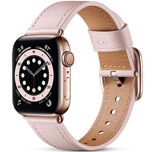 Oielai Correa de Cuero Compatible con Apple Watch Correa 38mm 40mm 42mm 44mm, Suave Genuino Cuero Reemplazo Correa para iWatch SE/Series 6 5 4 3 2 1, 38mm/40mm, Arena Rosa