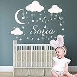 Ajcwhml Nombre Personalizado Nube Luna Estrellas Pegatinas de Pared Pegatinas de Vinilo Infantil para Niños Decoración de Habitación de Bebé Murales de Decoración de Dormitorio para Niñas