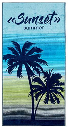 Lashuma - Toalla de playa (100% algodón, 180 x 90 cm), diseño de sol, color azul