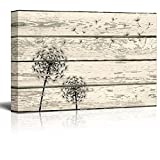 wall26 Rustic Canvas Prints Wall Art - Dandelion Artwork on Vintage Wood Board Background Stretched Canvas Wrap. Ready to Hang - 12' x 18'