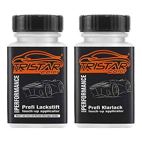 TRISTARcolor Autolack Lackstift Set für Mercedes/Daimler Benz 744 Brillantsilber Metallic Basislack Klarlack je 50ml