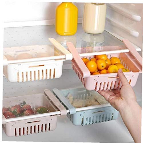 Angoter Multifunktions-Küche Kühlschrank Ablagekorb Rack-Kühlschrank mit Gefrierfach Regal-Halter Ausziehbare Kunststoff Schublade Organizer Space Saver zufällige Farbe