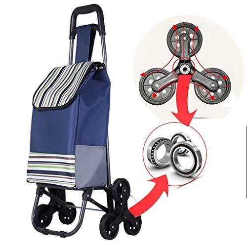 AHXF Shopping Cart Einkaufstrolley 40 Liter, Robuster Marktroller, Einkaufswagen, Handwagen, Mit 2 Rollen, Wasserabweisender Transportwagen Mit Gro?en R?dern, (Color : Blue)