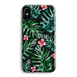 iPhone X/Xs Girls Women Case,Bahama Leaves Pink Flowers Floral Blooms Trendy Simple Elegant Spring Summer Tropical Palm Tree Summer Hawaii Beach Compatible Clear Soft Case for iPhone X/Xs