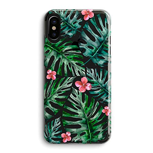 iPhone XR Girls Women Case,Bahama Leaves Pink Flowers Floral Blooms Trendy Simple Elegant Spring Summer Tropical Palm Tree Summer Hawaii Beach Compatible Clear Soft Case for iPhone XR