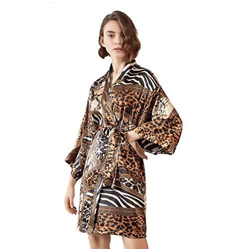 YUHOOE Damen Satin Morgenmantel Kimono,Seidensatin Kimono Sexy Braut Brautjungfer Robe Leopardenmuster Kurzer Bademantel Mit Gürtel,Damen Nachtwäsche Nachtkleid Für Hochzeitsfeier,Leopard,XL