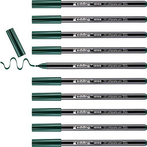 Edding e-1255 - Rotulador con punta caligráfica (10 unidades), color verde, color Verde botella 2 mm