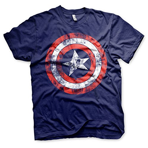 Marvel Comics Offizielle Herren affligée Captain America Logo Rétro-T-Shirt (Petit/Small)