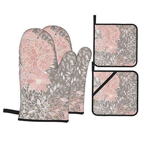 Jopath Juego de 4 manoplas de horno y soportes para ollas, diseño floral, color rosa rubor, gris, blanco, 4 piezas