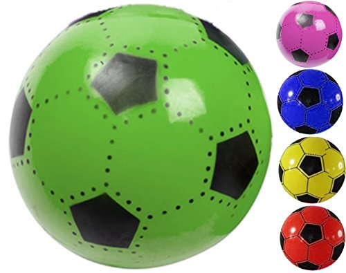 FUßBALL 23 cm Kunststoff Plastik Kunststoffball Wasserball Spielball Kinder Ball Farbauswahl Blau Rot Grün Pink Gelb