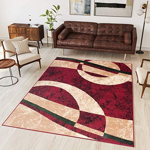 TAPISO Dream Tappeto Salotto Moderno Soggiorno Rosso Beige Astratto Cerchi Onde A Pelo Corto 130 x 190 cm
