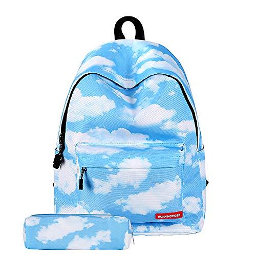 Surenhap Zaino Scuola Universo Galaxy Sky Stampa Scuola con Stampa Zaino Bambini per Ragazzi e Ragazze Adolescenti - Cielo di Nuvole (Blu)