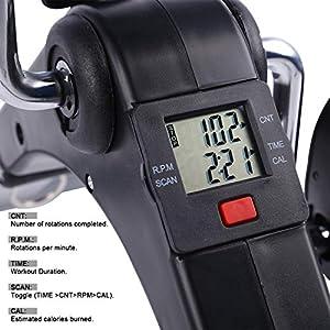 Uten Folding Pedal Exerciser, Mini Exercise Bike, Portable Foot Peddler Desk Bike for Leg and Arm Exercisers, Adjustable Sitting Workout with Electronic Display