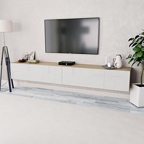 Tidyard 2xMesas para TV Mueble TV Salón Mesa Televisión Mueble Comedor Televisor Bajo de Estilo de Moderno PVC 120x40x34cm Blanco y Roble