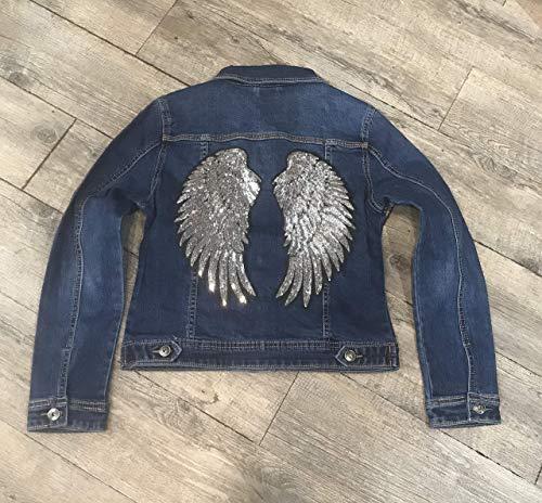 Denimjacke silberne Flügel