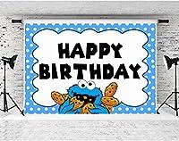 誕生日パーティーのためのZPC漫画のクッキーの背景7x5ftソフトコットンブルーモンスタースポットの背景子供ベビーシャワー誕生日パーティーケーキデザートテーブル装飾用品バナー写真