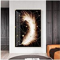 YQQICC モダンアブストラクトラインパールフェザーキャンバスウォールアートペインティングウォールピクチャーポスタープリントホームリビングルームデコレーション-50x70cmフレームなし
