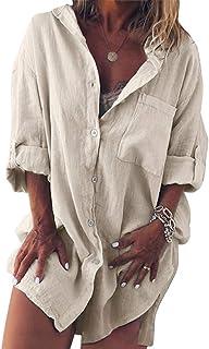 Shallood Camicetta Donna Elegante Manica Lunga in Cotone e Lino con Bottoni e Tasche a Camicia Lunghe Tinta Unita Casual O...
