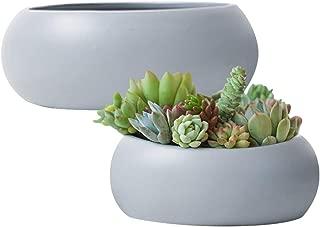Succulent Planter Flower Pots,Large Round Ceramic Garden Container Indoor Decor,Gray(Set of 2, 10.6 Inch)