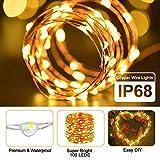 LED Lichterkette Batterie, otumixx 2er 10M 100 Micro LED Lichterkette 8 Modi Batteriebetrieben Kupferdraht Wasserdicht IP68 mit Fernbedienung und Timer für Innen/Außen Weihnachten Deko, Warmweiß - 3