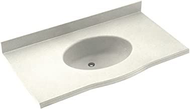 Swan EV02255.018 Europa Solid Surface Single-Bowl Vanity Top 55-in L X 22-in H X 6.875-in H Bisque