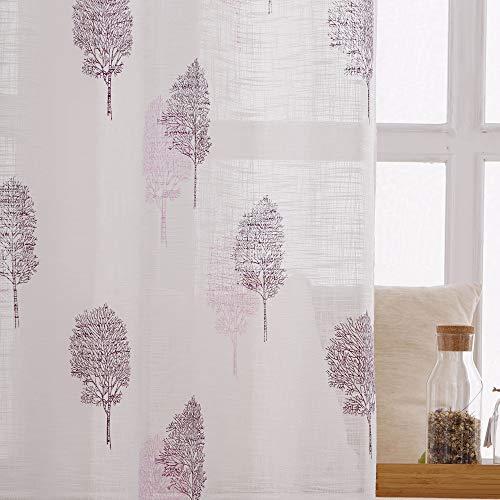 Viste tu hogar Pack 4 Cortina Decorativa con Impresión de Cáñamo y Purpurina, Moderna y Elegante, para Decoración de Salón o Habitación, 4 Piezas,150x260 CM, Diseño de Hojas Color Violeta