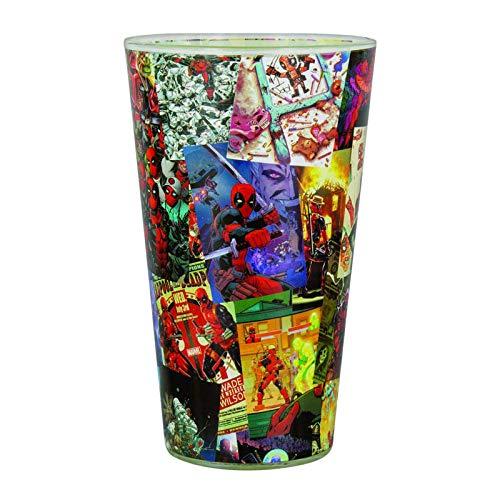 Paladone Marvel Glas Deadpool transparent, Bedruckt,aus Glas, Fassungsvermögen ca. 450 ml, in Geschenkkarton.