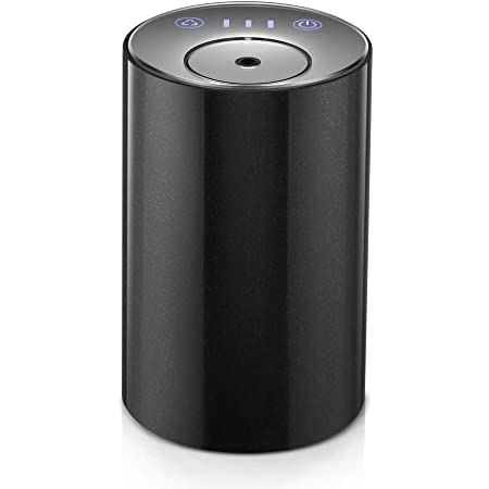 Essential Oil Diffuser Waterless, USB Battery Operated Cordless Car Diffuser, Portable Wireless Aromatherapy Oil Diffusers, Mini Aroma Diffuser 10ml for Car, Office Black