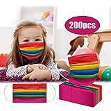 TriLance 50/100/150/200 - Manoplas de baño para niños, reutilizables, diseño de arcoíris, bandana para niños bonitos, resistente al polvo, algodón, lavable, reutilizable, junta transpirable