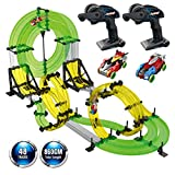 REMOKING Rail Race RC Track Car Toys 860cm Build Your Own 3D Super Track Ultimate Slot Car Playset 2 Cars 2 Remote Controller Party Game Kids Friends