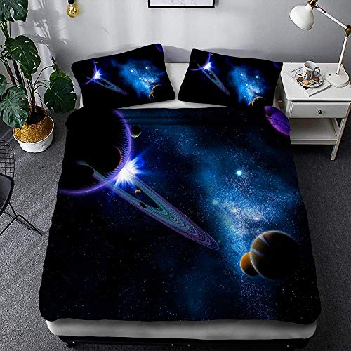 LWtiao-x 3D Outer Space Starry Sky Bedding kit, solar System Reversible Pattern, Quilt Cover for Teenagers and Children 135 x 200 cm, Double (a3,220x240cm+75x50cmx2)