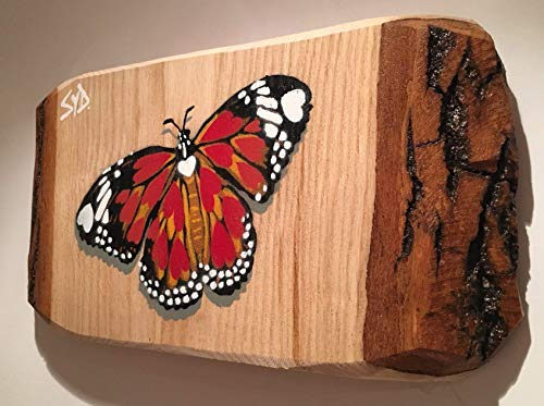 Butterfly Art Picture 'Hidden Hearts' Handmade in the UK | Romantic lockdown Gift | Spray painted painting on ash wood size 28 x 15cm | Wedding Anniversary or Birthday gift for Him or Her
