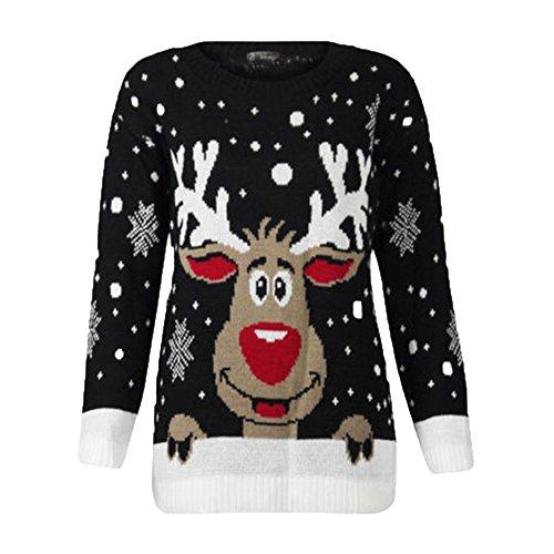 DEELIN dames kerststijl, mooi rendier, bedrukt, ronde hals, lange mouwen, gebreide trui, top, blouse