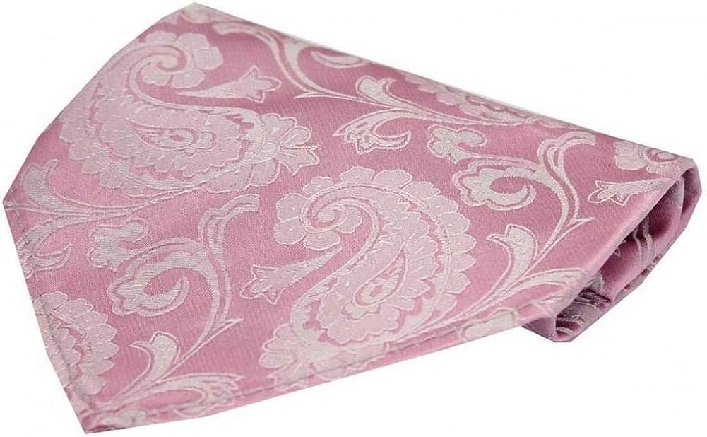 David Van Hagen Mens Luxury Paisley Silk Handkerchief - Cotton Candy Pink