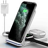 Hoonyer 3 en 1 Chargeur sans Fil Blanc, Chargeur à Induction de Téléphones Portables Rapide...