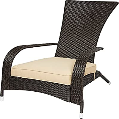 Best ChoiceProducts Wicker Adirondack Chair Patio Porch Deck Furniture Outdoor All Weather Proof