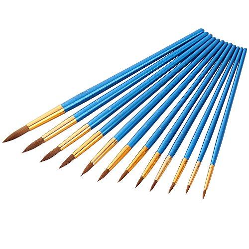 Mudder 12 Stück Künstlerpinsel feine Pinsel für Acryl Aquarell Ölmalerei, Blau