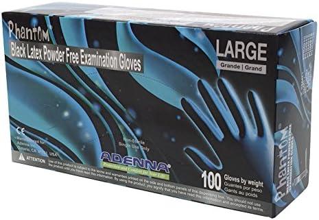 Adenna PHM916 Phantom 6 mil Latex Powder Free Exam Gloves Black Large Box of 100 product image