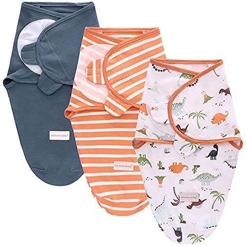 SaponinTree Baby Swaddle Coperta Avvolgente Neonato, 3 pezzi Coperta Avvolgente Fasce Regolabile Neonato 0-6 Mesi, 100% Cotone Neonati Sacchi Nanna