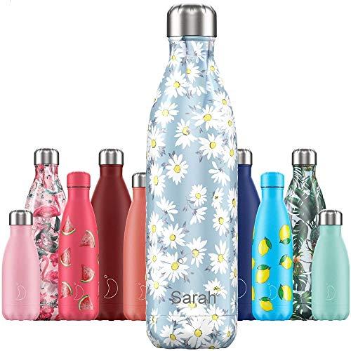 Chillys Isolierflasche MIT Gravur (z.B. Namen) Floral Daisy 750 ml, hält bis zu 12 Std heiß / 24 Std kalt, auslaufsicher, kohlensäuredicht, Thermo-Flasche Trinkflasche Bottle Wasserflasche