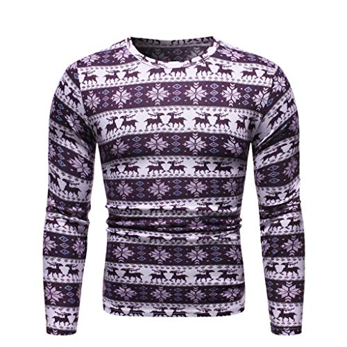 Check Out This Mens Ugly Christmas T-Shirt, Reindeer Geometric Print Long Sleeve Striped Top Blouse ...