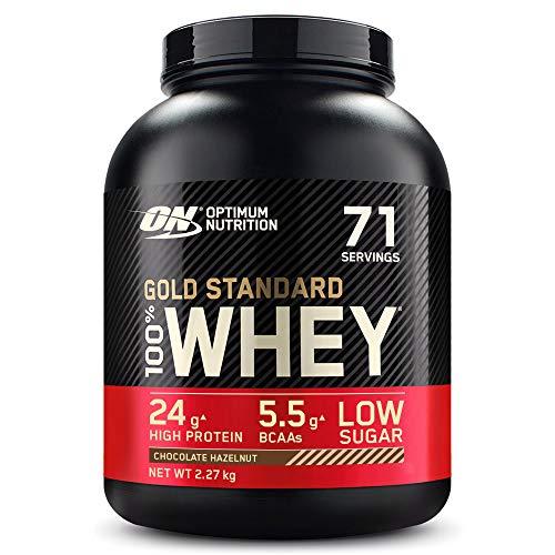 Optimum Nutrition Gold Standard 100% Whey Proteína en Polvo, Glutamina y Aminoácidos Naturales, BCAA, Chocolate y Avellana, 71 Porciones, 2.27kg, (Embalaje Puede Variar)