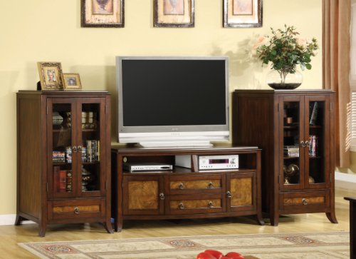Hot Sale Furniture of America Lester 3-Piece Media Console and Pier Cabinet Set, Brown Cherry and Oak Finish